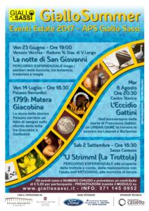 Locandina Giallo Summer 2017 - Eventi Estate A.P.S. Giallo Sassi Matera