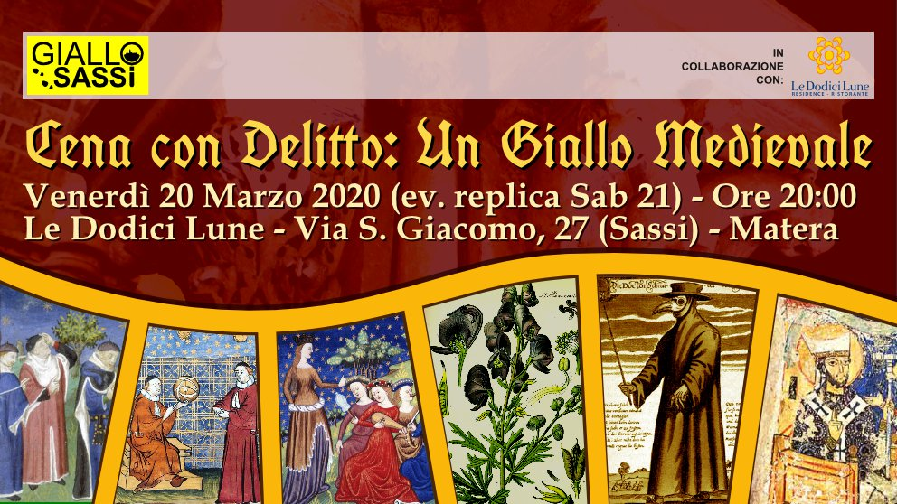 "Flyer Cena con Delitto ""Un Giallo Medievale"" del 20 Marzo 2020"