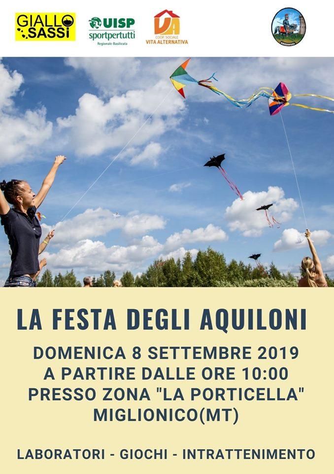 Manifesto Festa degli Aquiloni Miglionico 8 Settembre 2019
